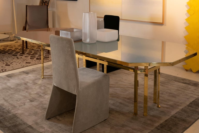 21st Century Filippo Feroldi Brass Table 280 Glass Top Various Colors For Sale 5