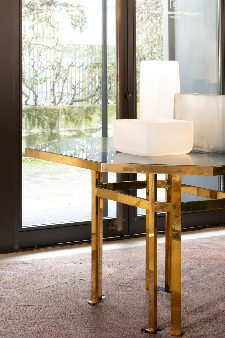 21st Century Filippo Feroldi Brass Table 280 Glass Top Various Colors For Sale 9