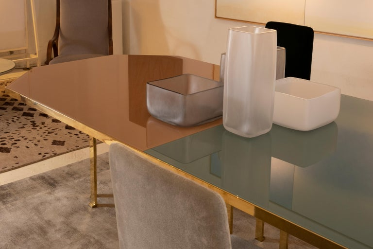 21st Century Filippo Feroldi Brass Table 280 Glass Top Various Colors For Sale 10