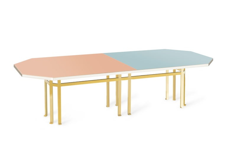21st Century Filippo Feroldi Brass Table 280 Glass Top Various Colors For Sale 1