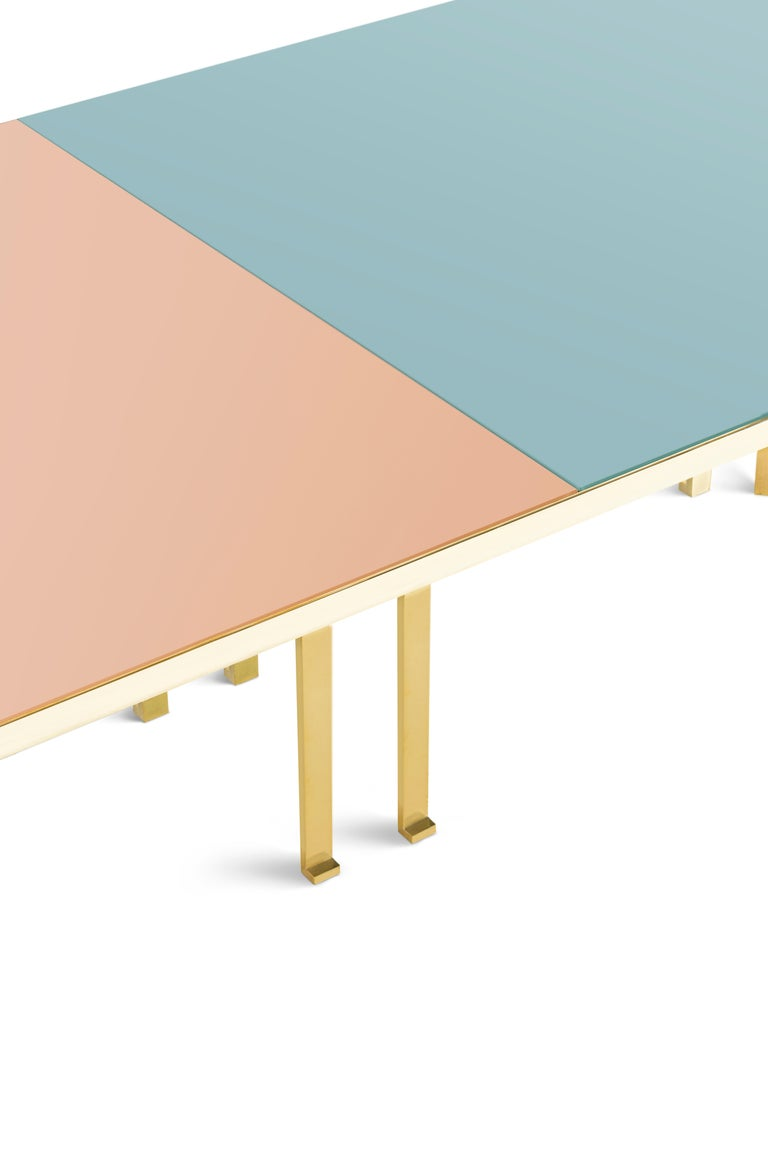 21st Century Filippo Feroldi Brass Table 280 Glass Top Various Colors For Sale 2