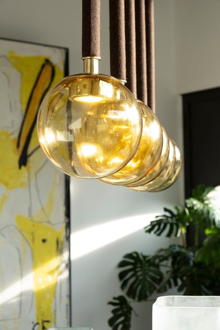 Modern 21st Century Filippo Feroldi Suspension Lamps Murano Glass Brass Various Colors For Sale