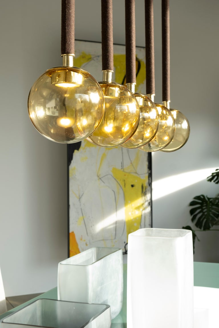 Contemporary 21st Century Filippo Feroldi Suspension Lamps Murano Glass Brass Various Colors For Sale