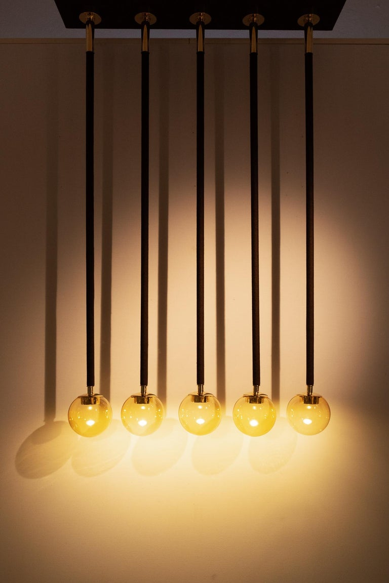 21st Century Filippo Feroldi Suspension Lamps Murano Glass Brass Various Colors For Sale 2