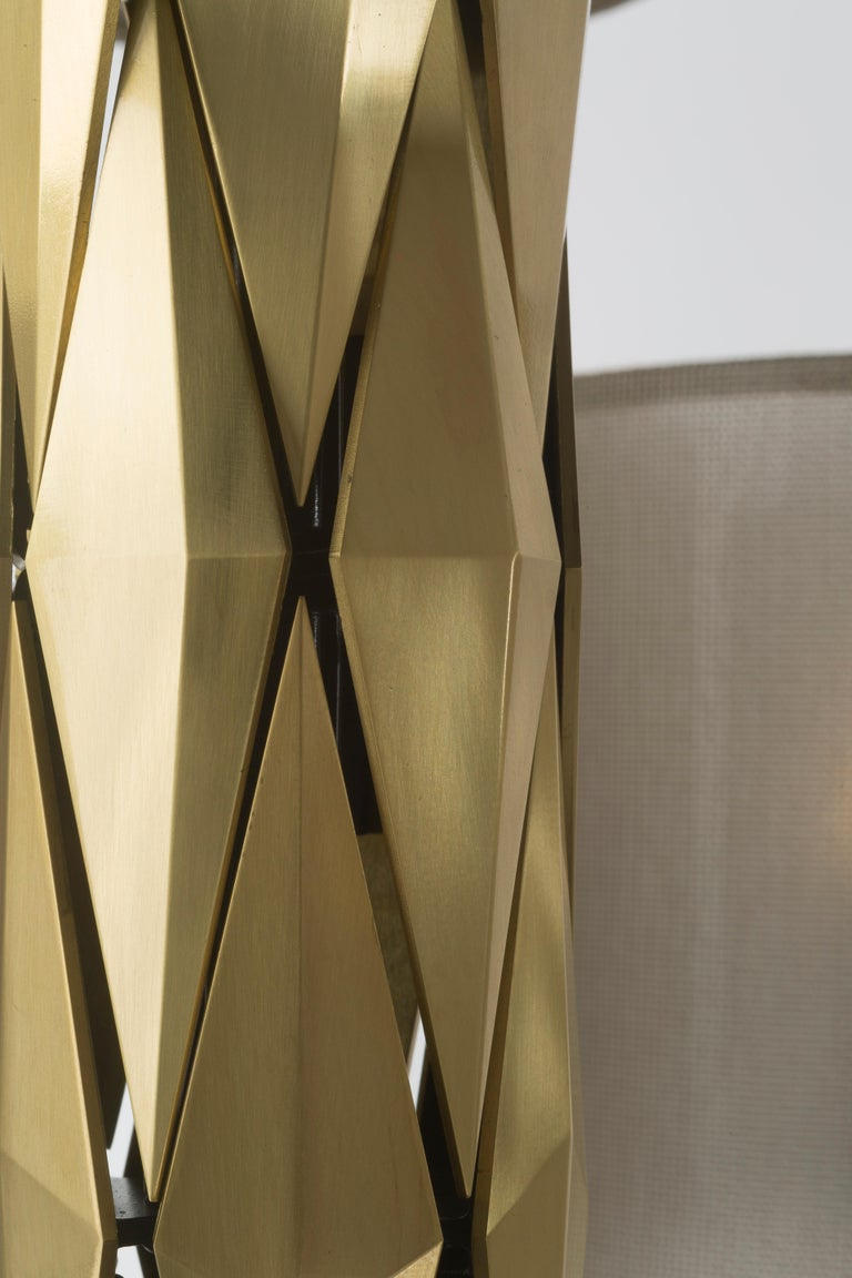 Italian 21st Century Flaire Chandelier by Officina Luce Solid Bevelled Brass Elements For Sale
