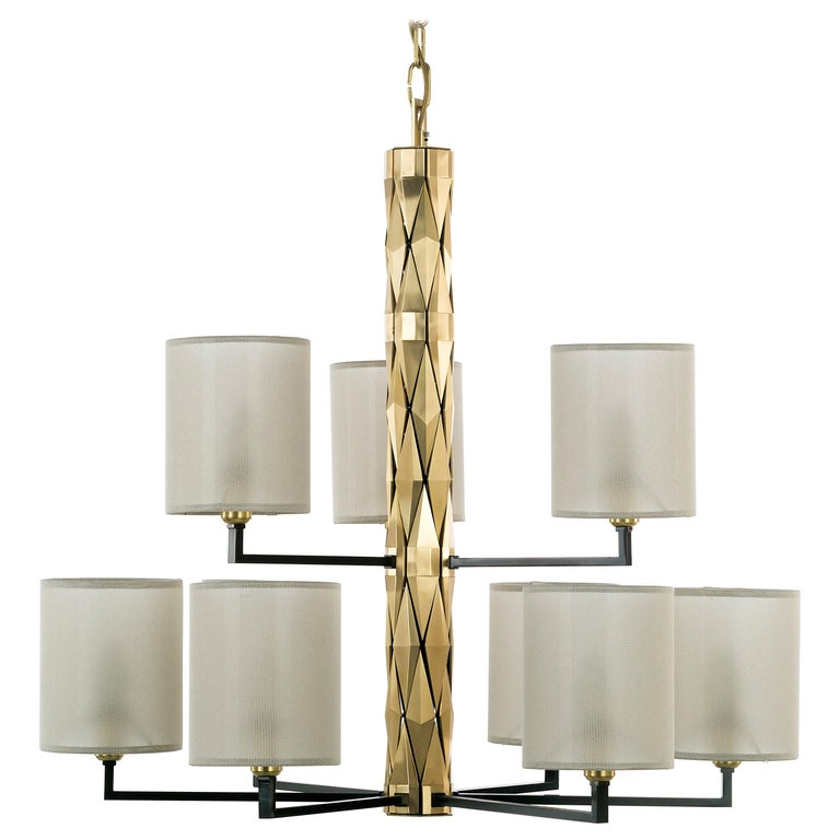 21st Century Flaire Chandelier by Officina Luce Solid Bevelled Brass Elements For Sale