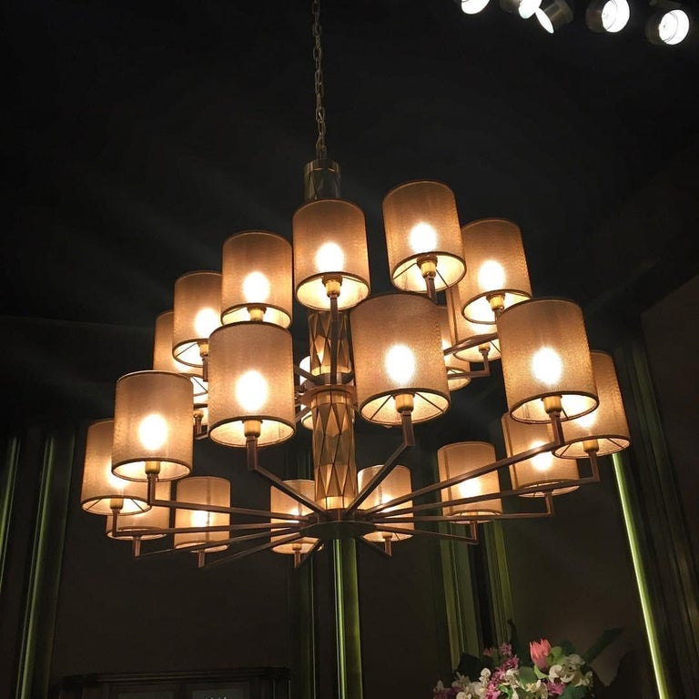21st Century Flaire Double Chandelier by Officina Luce Bevelled Brass Elements In New Condition For Sale In Prato, IT