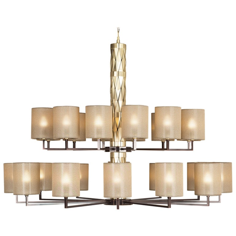 21st Century Flaire Double Chandelier by Officina Luce Bevelled Brass Elements For Sale