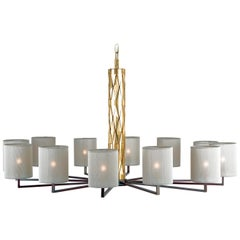21st Century Flaire Main Chandelier by Officina Luce Bevelled Brass Elements