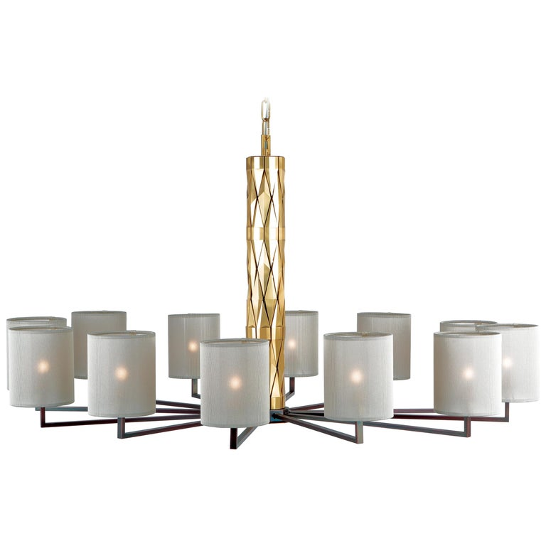 21st Century Flaire Main Chandelier by Officina Luce Bevelled Brass Elements For Sale