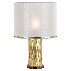 21st Century Flaire Table Lamp by Officina Luce Solid Beveled Brass Elements
