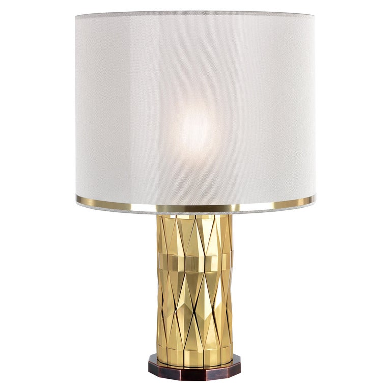 21st Century Flaire Table Lamp by Officina Luce Solid Beveled Brass Elements For Sale