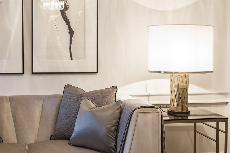 Art Deco 21st Century Flaire Table Lamp by Officina Luce Solid Beveled Brass Elements For Sale