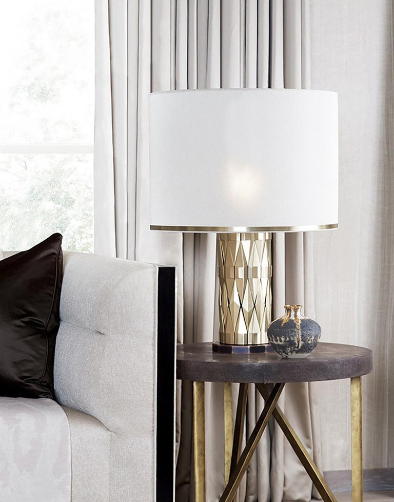 Italian 21st Century Flaire Table Lamp by Officina Luce Solid Beveled Brass Elements For Sale