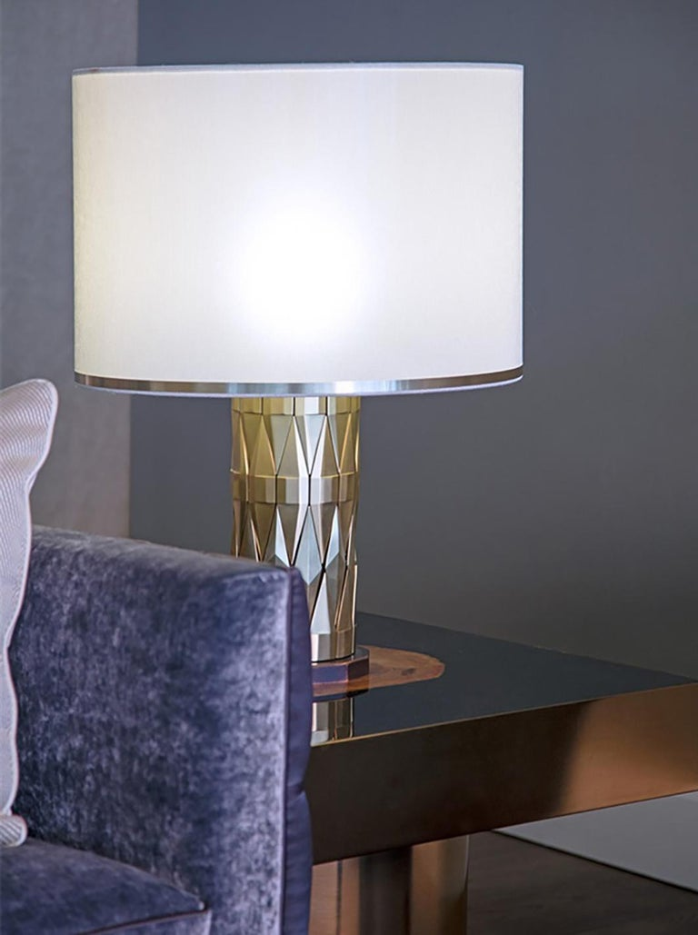 21st Century Flaire Table Lamp by Officina Luce Solid Beveled Brass Elements In New Condition For Sale In Prato, IT