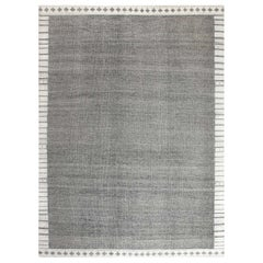 21st Century Flat-Weave Black and White Wool Rug
