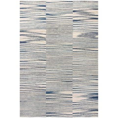 21st Century Flat-Woven Wool Rug in Blue and White Stripes
