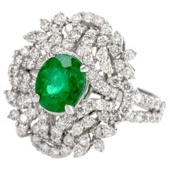 21st Century Floral Emerald Diamond Cluster Gold Cocktail Ring