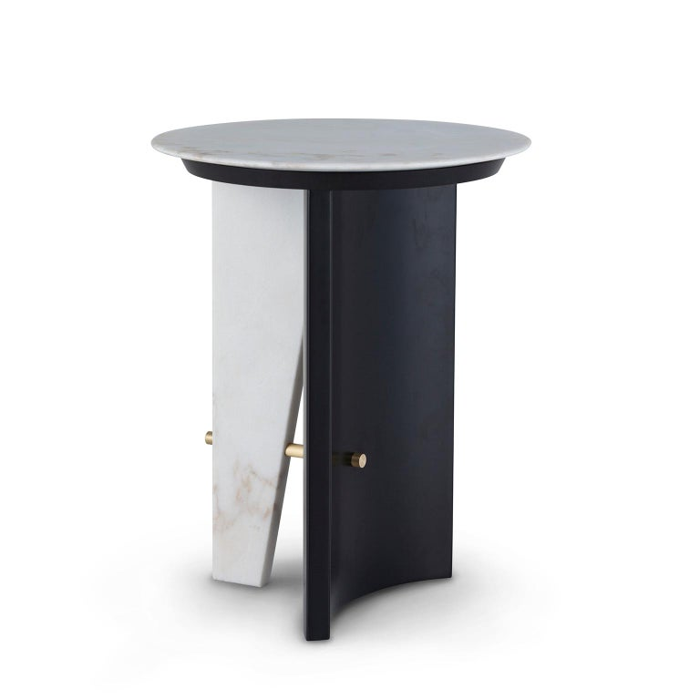 Modern Foice Side Table Calacatta Bianco Marble Oxidized Brass Satin Black Lacquered For Sale