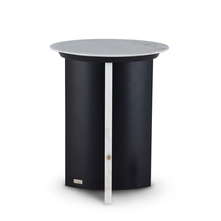 Portuguese Foice Side Table Calacatta Bianco Marble Oxidized Brass Satin Black Lacquered For Sale
