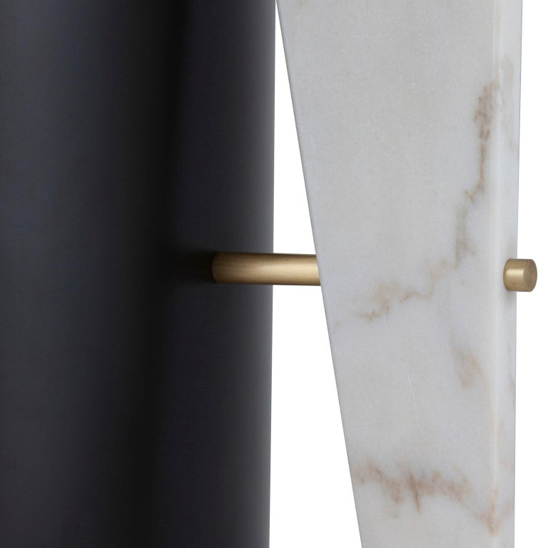 Foice Side Table Calacatta Bianco Marble Oxidized Brass Satin Black Lacquered In New Condition For Sale In Cartaxo, PT