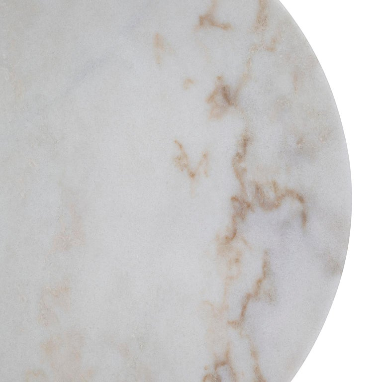 Foice Side Table Calacatta Bianco Marble Oxidized Brass Satin Black Lacquered For Sale 1