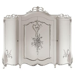 21st Century Four Door Wardrobe in White Finish and Silver Leaf by Modenese