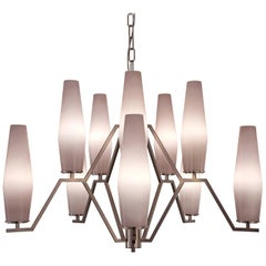 21st Century Frida Pink Blown Glass and Nickel Chandelier by Patrizia Garganti