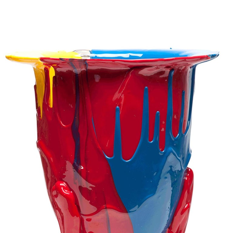 Amazonia vase, blue, red, yellow. The first piece which started the collection. Vase in soft resin designed by Gaetano Pesce in 1995 for Fish Design collection.  Measures: XL-Ø 30cm x H 56cm  Other sizes available. Vase in soft resin designed