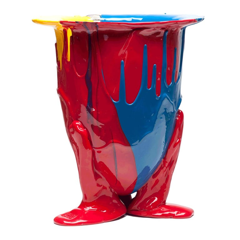 Contemporary 21st Century Gaetano Pesce Amazonia Vase XL Resin Blue Red Yellow For Sale
