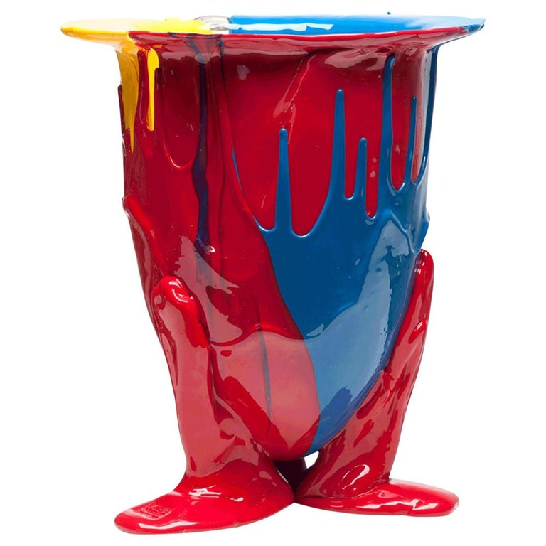 21st Century Gaetano Pesce Amazonia Vase XL Resin Blue Red Yellow For Sale