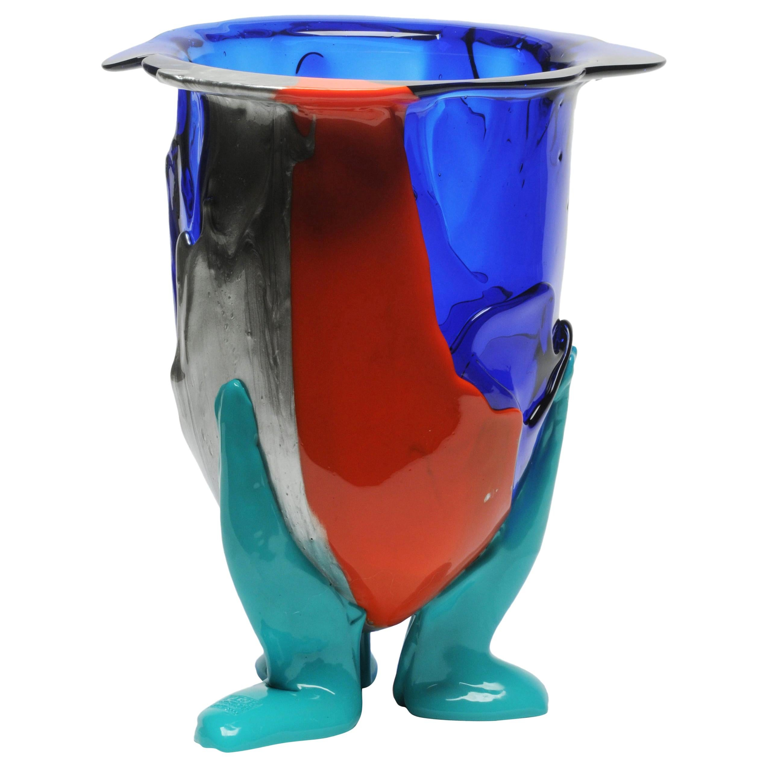 21st Century Gaetano Pesce Amazonia XL Vase Soft Resin Blue Red Turquoise Silver