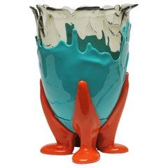 21st Century Gaetano Pesce Clear Vase M Resin Aqua Turquoise Orange