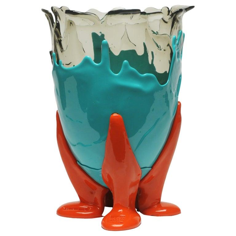 21st Century Gaetano Pesce Clear Vase M Resin Aqua Turquoise Orange For Sale