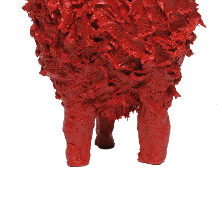 Arts and Crafts 21st Century Gaetano Pesce Lava L Vase Resin Red Black For Sale