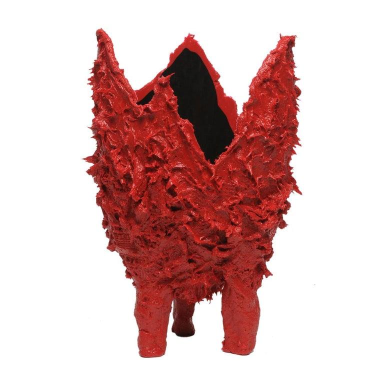 Italian 21st Century Gaetano Pesce Lava L Vase Resin Red Black For Sale