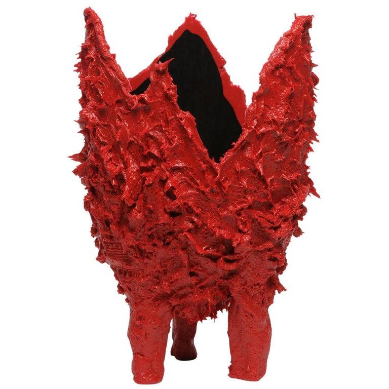 21st Century Gaetano Pesce Lava L Vase Resin Red Black For Sale