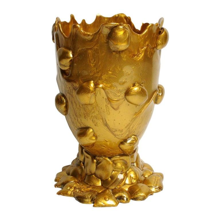 21st Century Gaetano Pesce Nugget L Vase Gold For Sale