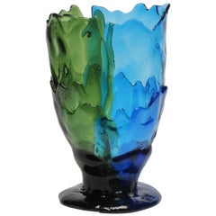 Contemporary Gaetano Pesce Twins-C L Vase Resin Green Blue