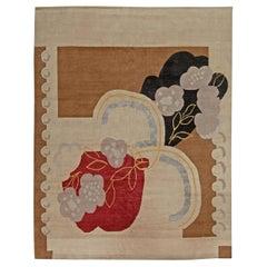 21st Century Garden in Art Deco Style Handmade Wool and Silk Rug