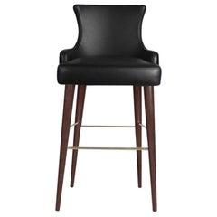 21st Century Gardner Bar Chair Leather Cotton Velvet Walnut Wood
