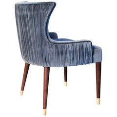 21st Century Gardner Dining Chair Cotton Velvet Walnut Wood