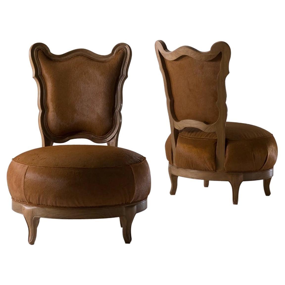 Gattona Solid walnut Dining Chair with Pony Leather