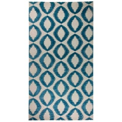 21st Century Geometria Dark Blue and White Flat-Woven Wool Rug
