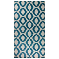 21st Century Geometria Dark Blue and White Flat-Woven Wool Rug