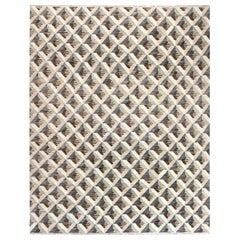21st Century Geometric Beige, Brown and Gray Handmade Wool Rug