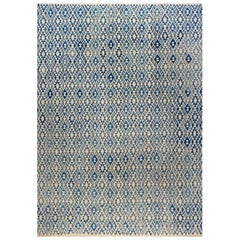 21st Century Geometric Blue and Beige Flat-Woven Rug