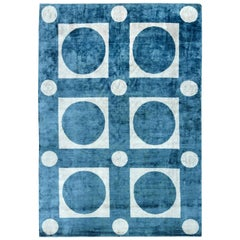 21st Century Geometric Blue and White Handmade Silk Rug