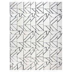 21st Century Geometric 'Dash' Black and White Handmade Wool Rug