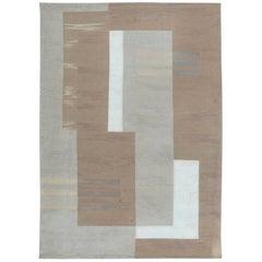 21st Century Geometric Flat-Weave Wool Rug in Beige and White
